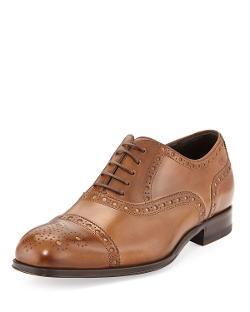 Hugo Boss  - Capetis Leather Brogue Oxford Shoe, Open Beige