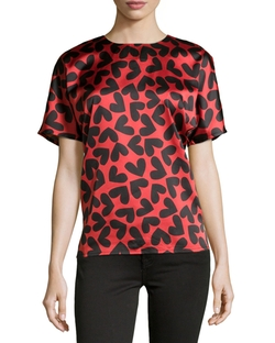 Neiman Marcus  - Heart-Print Short-Sleeve Blouse