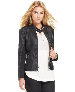 Calvin Klein Jeans - Faux-Leather Mixed-Media Knit Moto Jacket