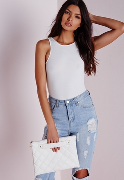 Missguided - Skinny Rib Racer Neck Bodysuit