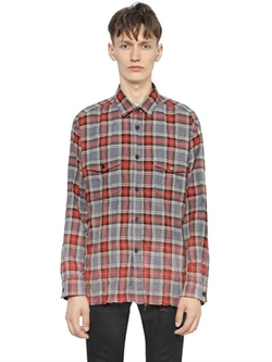 Saint Laurent - Gradient Bleached Plaid Cotton Shirt