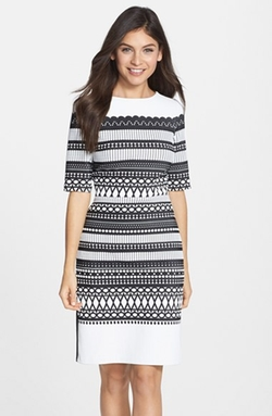 Julia Jordan - Geometric Pattern Knit Sheath Dress