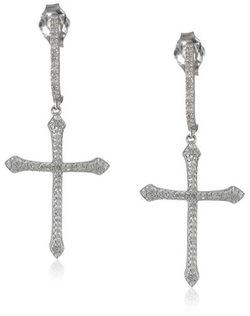 Amazon Collection - Silver Diamond Cross Dangle Earrings