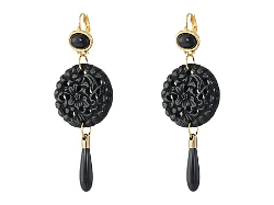 Kenneth Jay Lane - Round Carved Bottom Drop Earrings