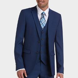 Egara  - Blue Vested Extreme Slim Fit Suit