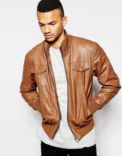 Barneys  - Faux Leather Bomber Jacket