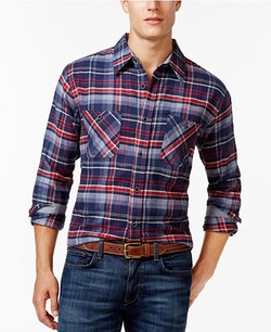 Weatherproof - Long-Sleeve Plaid Brushed Flannel Shirt
