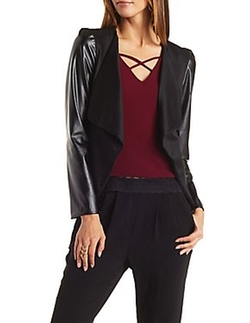 Charlotte Russe - Faux Leather Sleeve Blazer