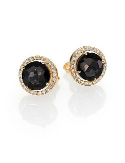 Suzanne Kalan  - Black Night Quartz Stud Earrings