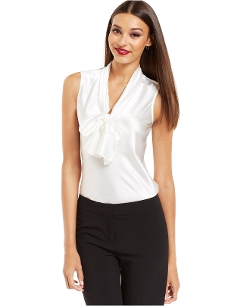 Nine West Top - Sleeveless Tie Neck Blouse