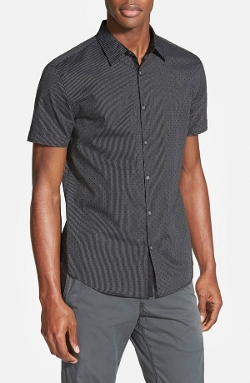 John Varvatos Star USA  - Trim Fit Short Sleeve Dobby Sport Shirt