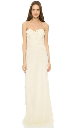 Badgley Mischka Collection - Strapless Ruffle Gown