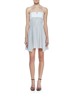 Robert Rodriguez   - Bonded Pleated Front-Zip Dress