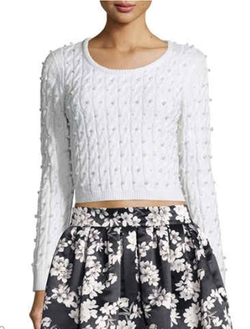 Alice + Olivia - Ora Cropped Wool Cardigan Sweater