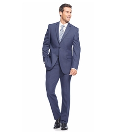 Perry Ellis - Blue Sharkskin Slim-Fit Suit