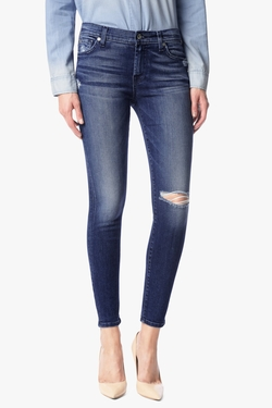 7 For All Mankind - Squiggle & Destroy Ankle Skinny Jeans