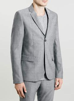 Topman - Light Grey Textured Suit Jacket