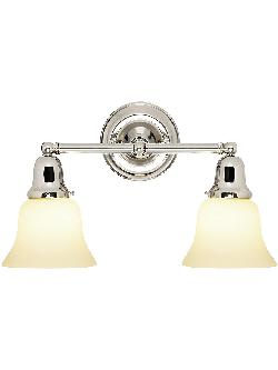 Edison - Solid Brass Double Sconce With Opal Glass Shades