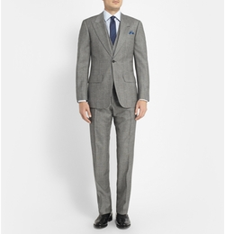 Lutwyche - Grey Slim-Fit Checked Wool Suit