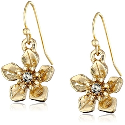 "1928 Jewelry - ""Le Marais"" Gold-Tone Flower Drop Earrings"