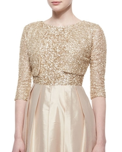 Aidan Mattox - Three-Quarter-Sleeve Sequined Bolero