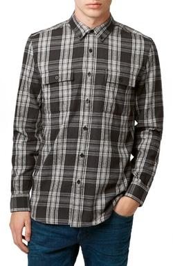 Topman -  Plaid Twill Shirt
