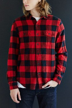 Salt Valley  - Buffalo Plaid Flannel Button-Down Shirt