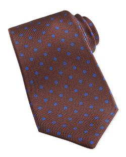 Kiton - Polka-Dot Pattern Tie, Brown/Blue