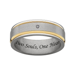 Sweet Sentiments - Titanium & Gold Ion Diamond Accent Wedding Band