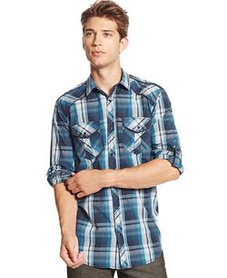 INC International Concepts - Zamire Plaid Long-Sleeve Shirt