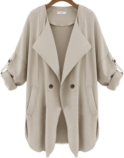 Romwe - Pockets Apricot Trench Coat