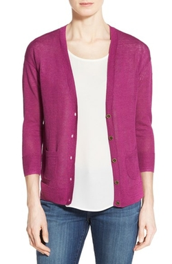 Caslon - Three-Quarter Sleeve V-Neck Cardigan