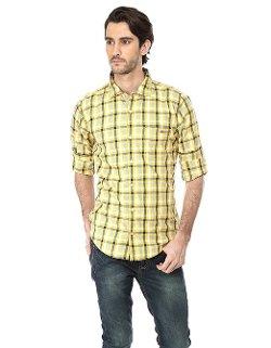 Basics - Casual Checkered Yellow Slim Shirt