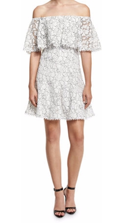 Nicholas - Floral Lace Off-the-Shoulder Frill Dress