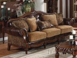 Acme - Dreena Bonded Leather Sofa with Five Pillows