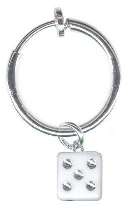 BodySparkle Body Jewelry - Pair of Dice Clip On Hoop Earrings
