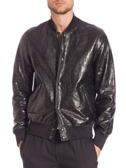 Diesel Black Gold - Larbirbo Cracked Lambskin Leather Bomber Jacket