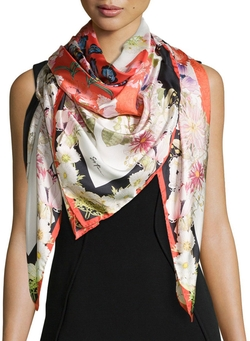 St. Piece Chloris - Floral-Print Square Silk Scarf