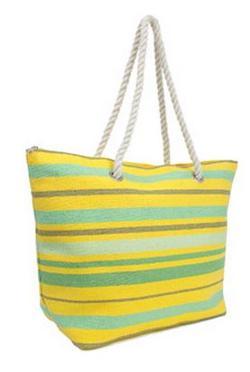 Magid  - Stripe Paper Straw Tote Handbag