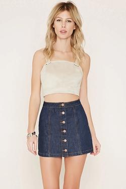 Forever21 - Button-Front Denim Skirt