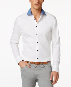 Vince Camuto - Contrast-Collar Long-Sleeve Shirt