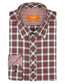 Tallia  - Orange Slim Fit Check Dress Shirt