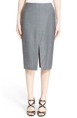 Nordstrom Signature and Caroline Issa  - Selma Double Slit Wool Pencil Skirt