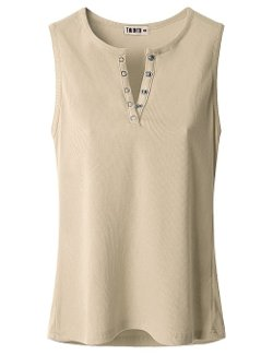 Doublju  - Sleeveless Henley Button T-Shirt
