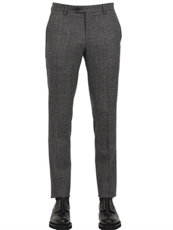 Faconnable - Checked High Twist Wool Trousers