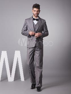 MILANOO - Handsome Gray Single Breasted Button Lapel Serge Groom Wedding Tuxedo