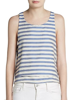 Wren - Striped Tiered-Hem Tank Top