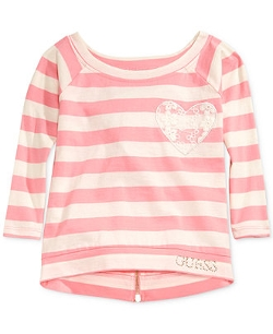 Guess - Lace-Heart Striped Top