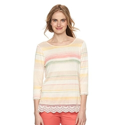 LC Lauren Conrad  - Striped Lace-Hem Tee
