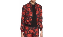 Alice + Olivia - Lonnie Cropped Floral Jacquard Bomber Jacket